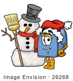 #26268 Clip Art Graphic Of A Blue Snail Mailbox Cartoon Character With A Snowman On Christmas