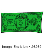 #26269 Clip Art Graphic Of A Blue Snail Mailbox Cartoon Character On A Dollar Bill