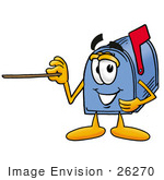 #26270 Clip Art Graphic Of A Blue Snail Mailbox Cartoon Character Holding A Pointer Stick