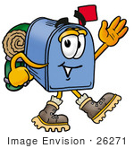 #26271 Clip Art Graphic Of A Blue Snail Mailbox Cartoon Character Hiking And Carrying A Backpack