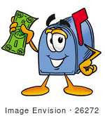 #26272 Clip Art Graphic of a Blue Snail Mailbox Cartoon Character Holding a Dollar Bill by toons4biz