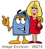 #26274 Clip Art Graphic Of A Blue Snail Mailbox Cartoon Character Talking To A Pretty Blond Woman