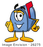 #26275 Clip Art Graphic Of A Blue Snail Mailbox Cartoon Character Pointing At The Viewer