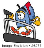 #26277 Clip Art Graphic Of A Blue Snail Mailbox Cartoon Character Walking On A Treadmill In A Fitness Gym