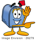 #26279 Clip Art Graphic Of A Blue Snail Mailbox Cartoon Character Waving And Pointing