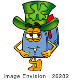 #26282 Clip Art Graphic Of A Blue Snail Mailbox Cartoon Character Wearing A Saint Patricks Day Hat With A Clover On It