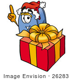 #26283 Clip Art Graphic of a Blue Snail Mailbox Cartoon Character Standing by a Christmas Present by toons4biz