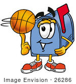 #26286 Clip Art Graphic Of A Blue Snail Mailbox Cartoon Character Spinning A Basketball On His Finger