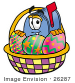#26287 Clip Art Graphic Of A Blue Snail Mailbox Cartoon Character In An Easter Basket Full Of Decorated Easter Eggs