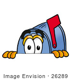 #26289 Clip Art Graphic Of A Blue Snail Mailbox Cartoon Character Peeking Over A Surface