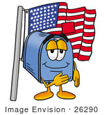 #26290 Clip Art Graphic Of A Blue Snail Mailbox Cartoon Character Pledging Allegiance To An American Flag