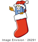 #26291 Clip Art Graphic Of A Blue Snail Mailbox Cartoon Character Wearing A Santa Hat Inside A Red Christmas Stocking