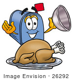 #26292 Clip Art Graphic Of A Blue Snail Mailbox Cartoon Character Serving A Thanksgiving Turkey On A Platter