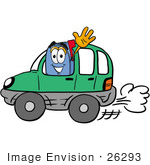 #26293 Clip Art Graphic Of A Blue Snail Mailbox Cartoon Character Driving A Green Car And Waving