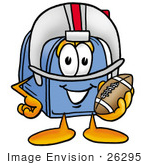 #26295 Clip Art Graphic Of A Blue Snail Mailbox Cartoon Character In A Helmet Holding A Football