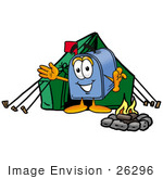 #26296 Clip Art Graphic Of A Blue Snail Mailbox Cartoon Character Camping With A Tent And Fire