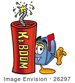 #26297 Clip Art Graphic Of A Blue Snail Mailbox Cartoon Character Standing With A Lit Stick Of Dynamite