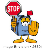 #26301 Clip Art Graphic Of A Blue Snail Mailbox Cartoon Character Holding A Stop Sign