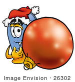 #26302 Clip Art Graphic Of A Blue Snail Mailbox Cartoon Character Wearing A Santa Hat Standing With A Christmas Bauble