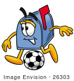 #26303 Clip Art Graphic Of A Blue Snail Mailbox Cartoon Character Kicking A Soccer Ball