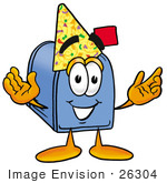 #26304 Clip Art Graphic Of A Blue Snail Mailbox Cartoon Character Wearing A Birthday Party Hat