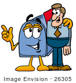 #26305 Clip Art Graphic Of A Blue Snail Mailbox Cartoon Character Talking To A Business Man