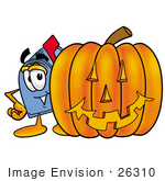 #26310 Clip Art Graphic Of A Blue Snail Mailbox Cartoon Character With A Carved Halloween Pumpkin