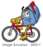 #26311 Clip Art Graphic Of A Blue Snail Mailbox Cartoon Character Riding A Bicycle