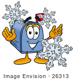 #26313 Clip Art Graphic Of A Blue Snail Mailbox Cartoon Character With Three Snowflakes In Winter