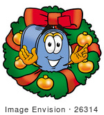 #26314 Clip Art Graphic Of A Blue Snail Mailbox Cartoon Character In The Center Of A Christmas Wreath