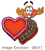 #26317 Clip Art Graphic Of A Plumbing Toilet Or Sink Plunger Cartoon Character With An Open Box Of Valentines Day Chocolate Candies