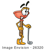#26320 Clip Art Graphic of a Plumbing Toilet or Sink Plunger Cartoon Character Leaning on a Golf Club While Golfing by toons4biz