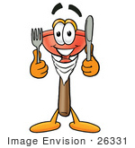 #26331 Clip Art Graphic Of A Plumbing Toilet Or Sink Plunger Cartoon Character Holding A Knife And Fork