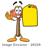 #26339 Clip Art Graphic Of A Plumbing Toilet Or Sink Plunger Cartoon Character Holding A Yellow Sales Price Tag