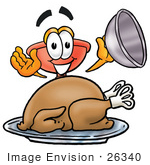 #26340 Clip Art Graphic Of A Plumbing Toilet Or Sink Plunger Cartoon Character Serving A Thanksgiving Turkey On A Platter