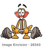 #26343 Clip Art Graphic Of A Plumbing Toilet Or Sink Plunger Cartoon Character Lifting A Heavy Barbell