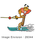 #26344 Clip Art Graphic Of A Plumbing Toilet Or Sink Plunger Cartoon Character Waving While Water Skiing