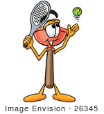 #26345 Clip Art Graphic Of A Plumbing Toilet Or Sink Plunger Cartoon Character Preparing To Hit A Tennis Ball