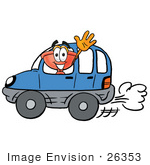#26353 Clip Art Graphic Of A Plumbing Toilet Or Sink Plunger Cartoon Character Driving A Blue Car And Waving