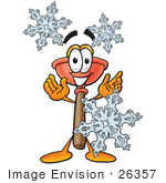 #26357 Clip Art Graphic Of A Plumbing Toilet Or Sink Plunger Cartoon Character With Three Snowflakes In Winter