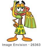 #26363 Clip Art Graphic Of A Plumbing Toilet Or Sink Plunger Cartoon Character In Green And Yellow Snorkel Gear