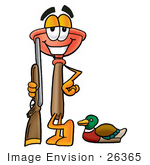 #26365 Clip Art Graphic of a Plumbing Toilet or Sink Plunger Cartoon Character Duck Hunting, Standing With a Rifle and Duck by toons4biz
