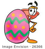 #26366 Clip Art Graphic Of A Plumbing Toilet Or Sink Plunger Cartoon Character Standing Beside An Easter Egg