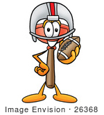 #26368 Clip Art Graphic Of A Plumbing Toilet Or Sink Plunger Cartoon Character In A Helmet Holding A Football