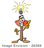 #26369 Clip Art Graphic Of A Plumbing Toilet Or Sink Plunger Cartoon Character With A Bright Idea