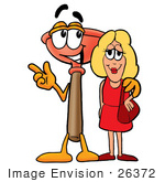 #26372 Clip Art Graphic Of A Plumbing Toilet Or Sink Plunger Cartoon Character Talking To A Pretty Blond Woman