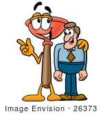 #26373 Clip Art Graphic Of A Plumbing Toilet Or Sink Plunger Cartoon Character Talking To A Business Man