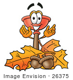 #26375 Clip Art Graphic Of A Plumbing Toilet Or Sink Plunger Cartoon Character With Autumn Leaves And Acorns In The Fall