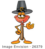 #26379 Clip Art Graphic Of A Plumbing Toilet Or Sink Plunger Cartoon Character Wearing A Pilgrim Hat On Thanksgiving