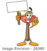 #26380 Clip Art Graphic Of A Plumbing Toilet Or Sink Plunger Cartoon Character Holding A Blank Sign